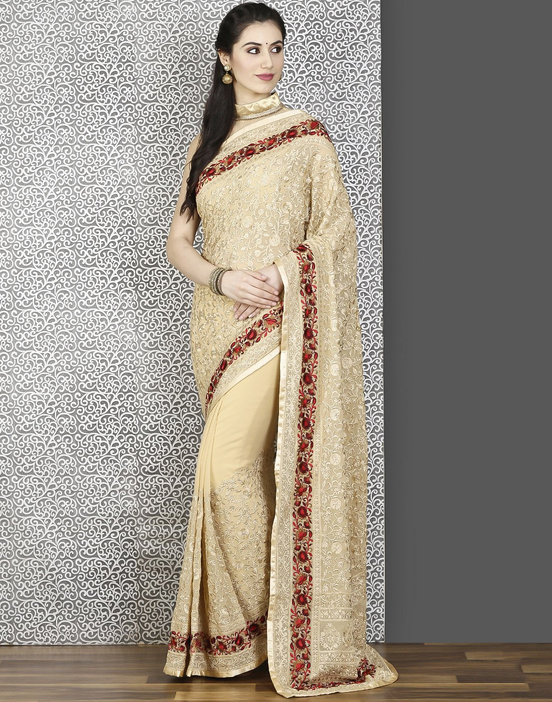 Meena Bazaar: Georgette saree with embroidery jaal