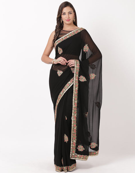 Black Art Georgette Saree