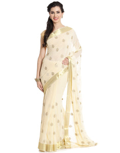 Meena Bazaar:  Chiffon Saree With Zari Embroidery