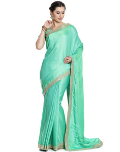 Meena Bazaar: Embroidered Handloom Silk Saree With Ready Blouse