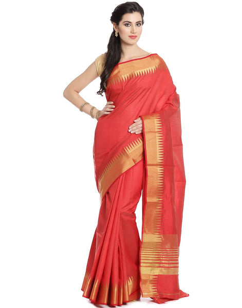 Art Handloom Silk Saree With Temple Zari Border