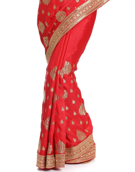 Meena Bazaar: Dupion Silk Saree With Zari Embroidery