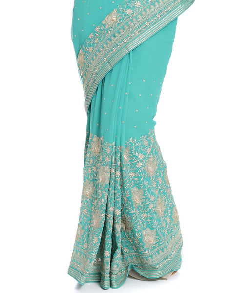 Meena Bazaar: Georgette Saree With All-over Floral Embroidery