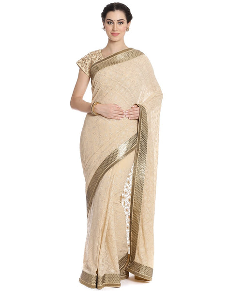 Meena Bazaar: Georgette Saree With All-over Self Thread Embroidery