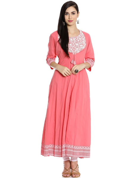 Meena Bazaar: Double Layered Floral Embroidered A-line Kurti