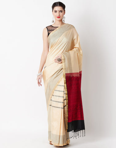 Cream Woven Handloom Saree
