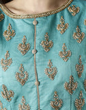 Meena Bazaar : Sea green Anarkali suit set with golden embroidery