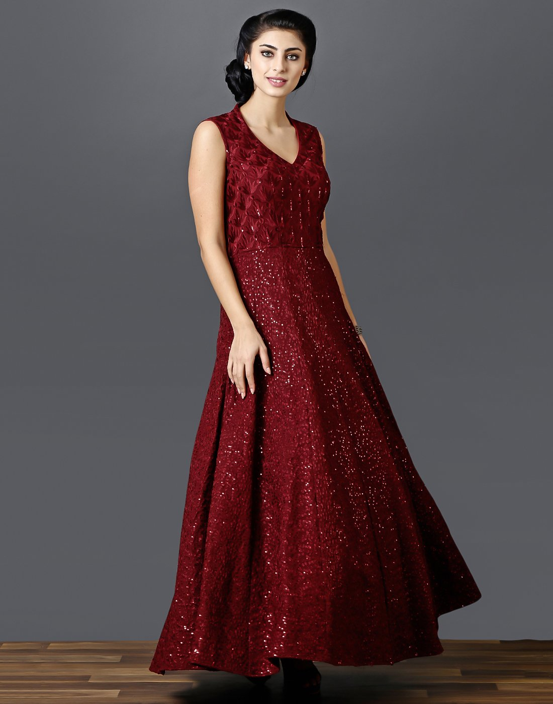 Meena bazaar : Embroidered-sequin work gown on silk fabric