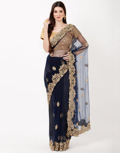 Navy Blue Net Saree with Readymade Blouse