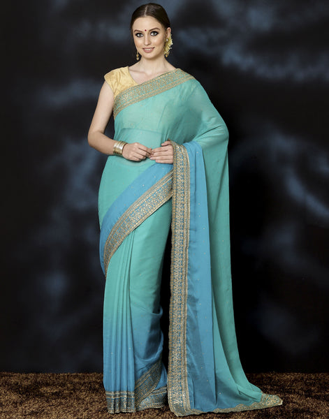 Meena Bazaar: Embroidered Art Chiffon Saree