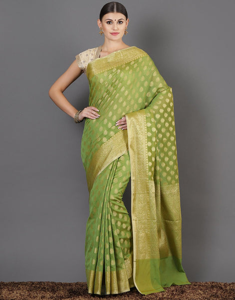 Meena Bazaar: Woven saree with zaari booti