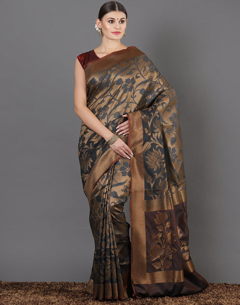 Meena Bazaar: Woven saree with jaal
