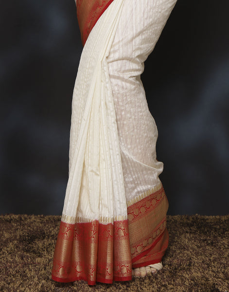 Meena Bazaar:  Woven saree with self-design floral border