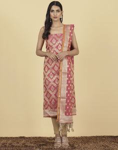 Meena Bazaar : Unstitched Cotton Chanderi suit With Floral Foil Print