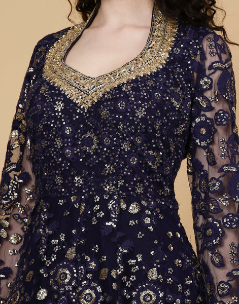 Meena Bazaar : Embroidered gown sequin work on net fabric
