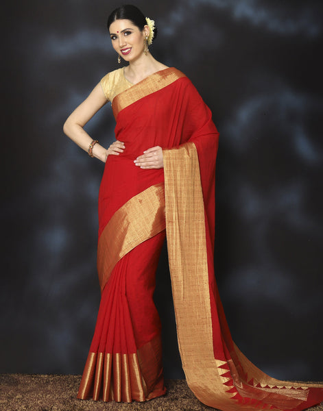 Meena Bazaar:  Woven saree with plain golden border