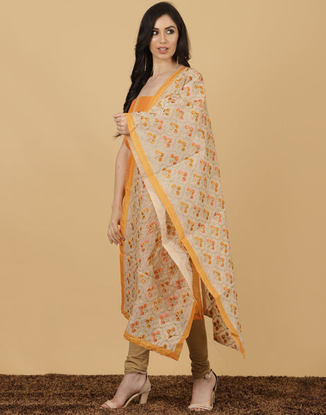 Meena Bazaar : MUSTARD Unstitched Cotton Chanderi Suit