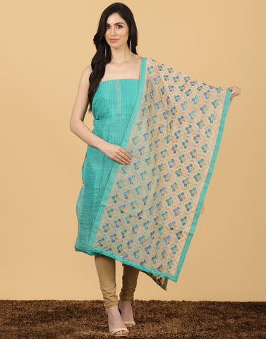 Meena Bazaar :  SEA GREEN BEGE Unstitched Cotton Chanderi Suit