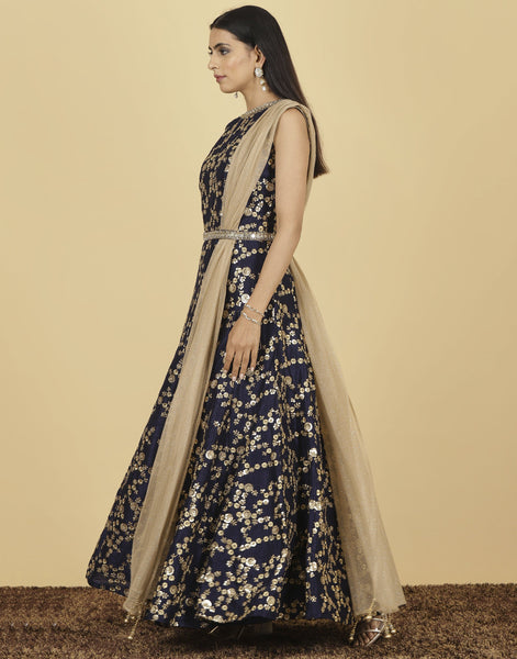 Meena Bazaar: Anarkali style suit with golden embroidery