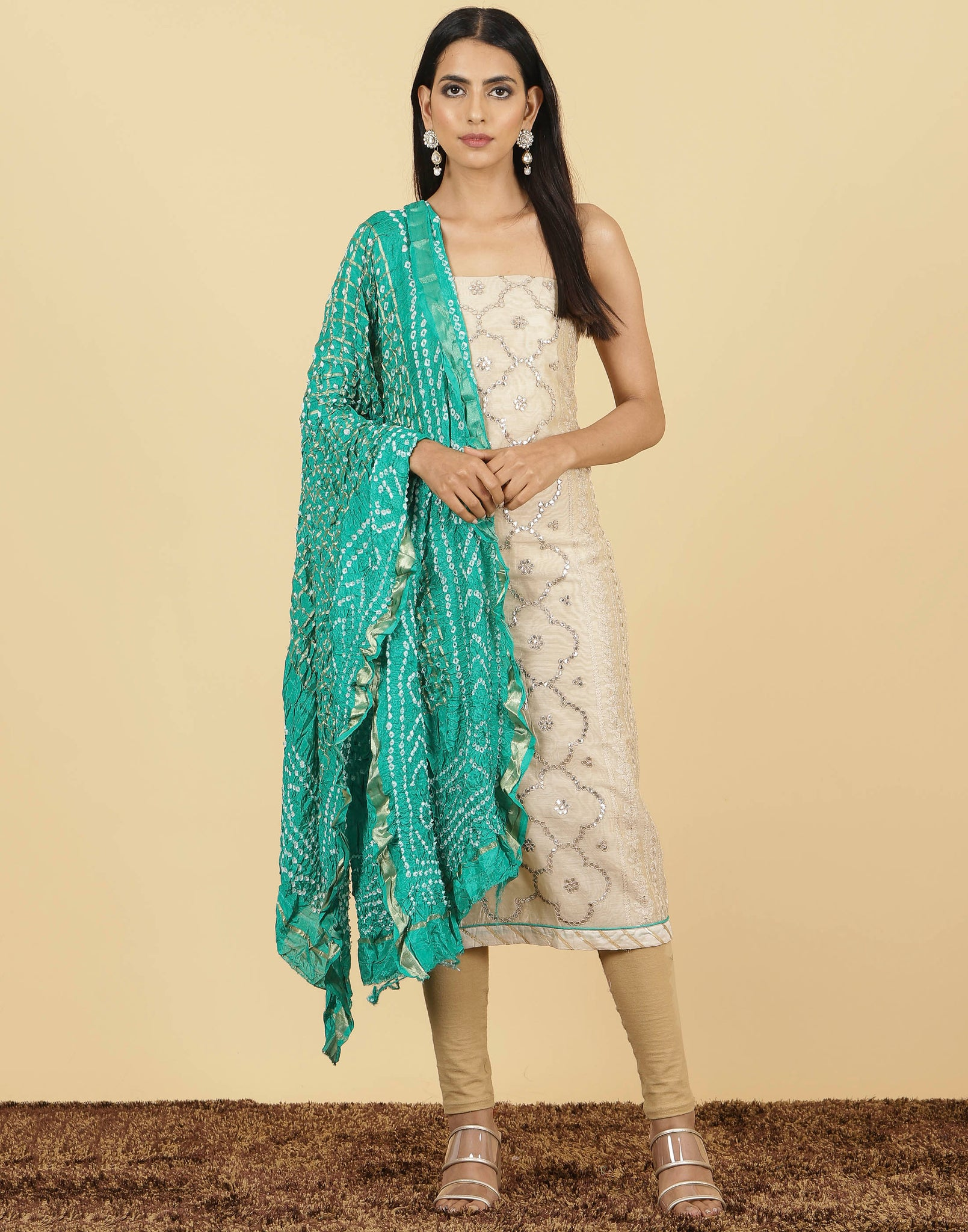 Meena Bazaar : Unstitched Cotton Chanderi With Duppata