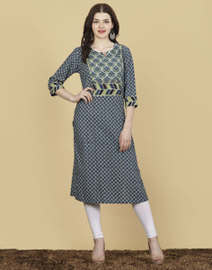 Meena Bazaar: Blue Cotton Printed Kurti