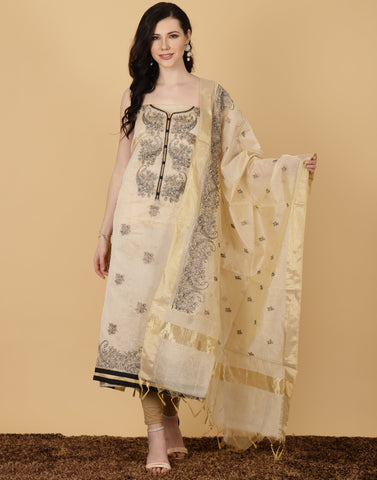 Meena Bazaar : Unstitched Cotton Chanderi Suit