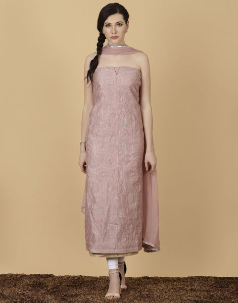 Unstitched cotton chanderi suit with CHIFFON dupatta.