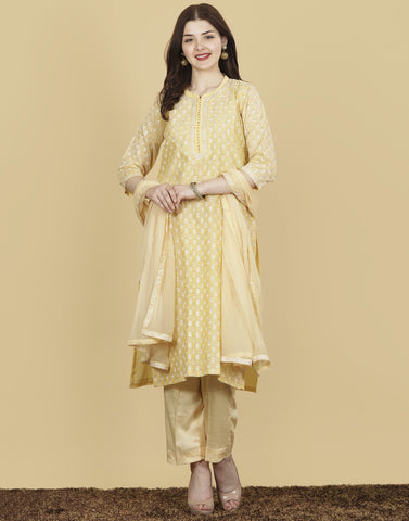 Meena Bazaar: Cotton Chanderi Suit Set