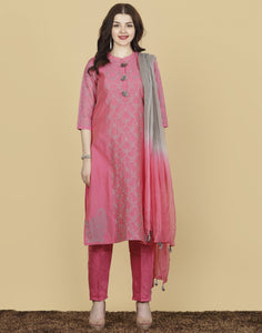 Meena Bazaar: Cotton Chanderi Suit Set with Thread Embroidery