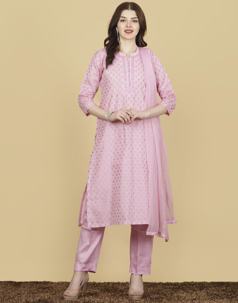 Meena Bazaar : Cotton Chanderi Suit Set