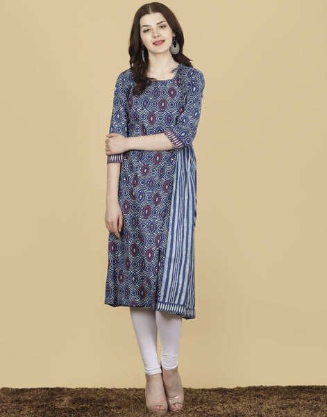 Meena Bazaar : Blue Cotton Kurti