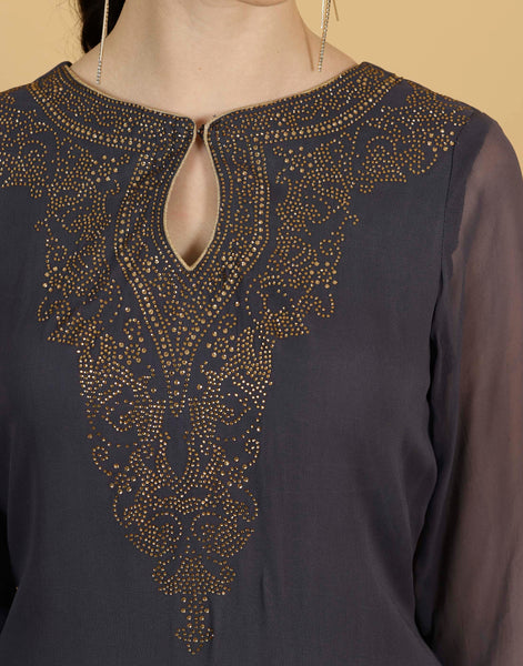 Meena Bazar: Embroidered Georgette Kurti