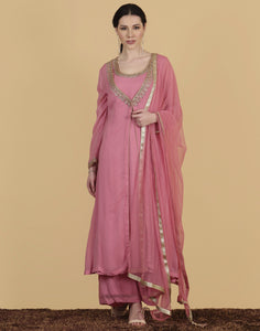 Meena Bazaar: Georgette suit with golden embroidery and a sharara.
