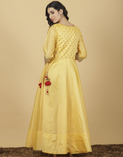 Meena Bazaar: Anarkali style suit with golden yoke embroidery