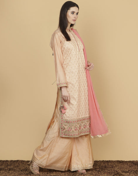 Meena Bazaar: Cotton chanderi suit with banarsi woven sharara.
