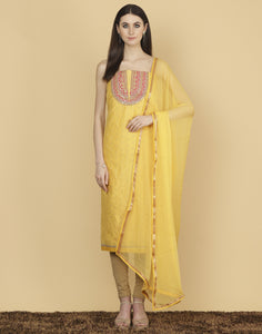 Meena Bazaar: Unstitched Cotton Chanderi Suit With Floral Embroidery