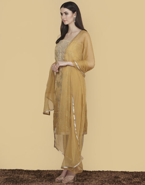 Meena Bazaar: Unstitched Cotton Chanderi Suit With Embroidery