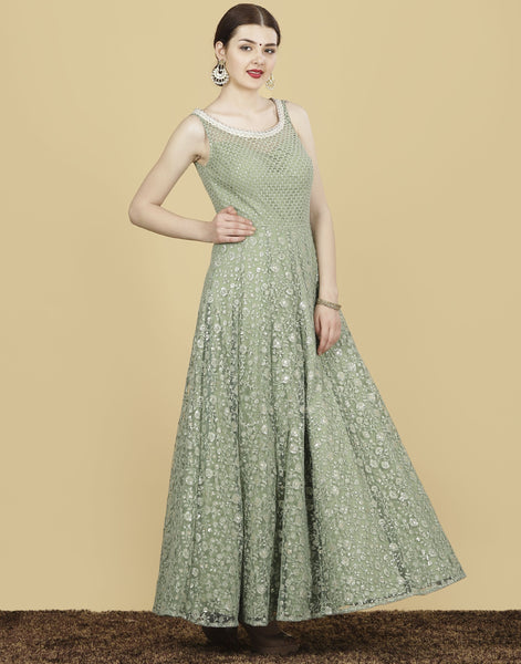 Meena Bazaar: Embroidered Sequins work gown on silk fabric