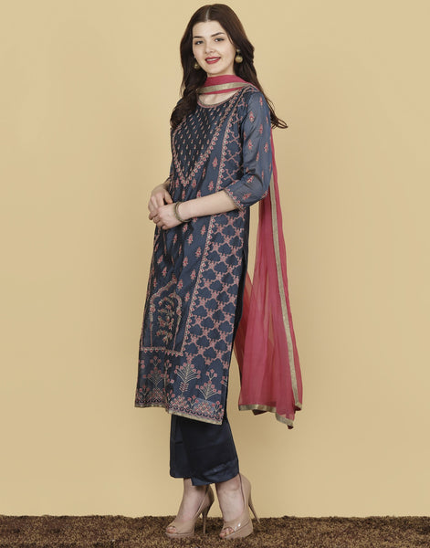 Meena Bazaar : Cotton Chanderi Suit Set with Multi Thread Embroidery