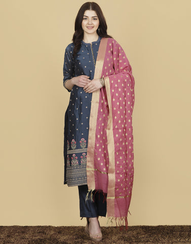 Meena Bazaar : Cotton Chanderi Suit Set with Zari Work