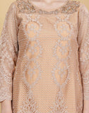 Meena Bazaar-Self Designing Lace Kurta with Net Plazzo