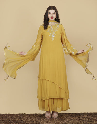 Meena Bazaar- Georgette Suit Set with Golden Embroidery