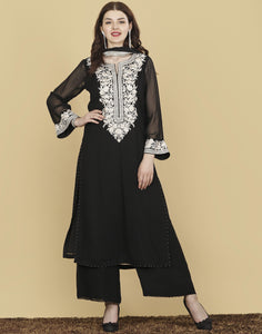 Meena Bazaar: Georgette Suit Set with Thread Embroidery