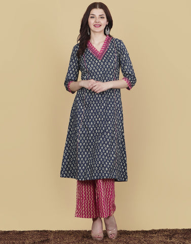 Meena Bazaar: Floral Printed Cotton Kurta with Plazzo