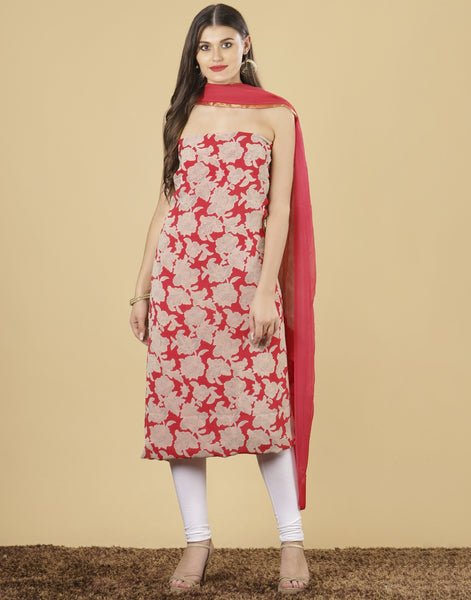 Meena Bazaar: Unstitched Art Georgette suit piece.