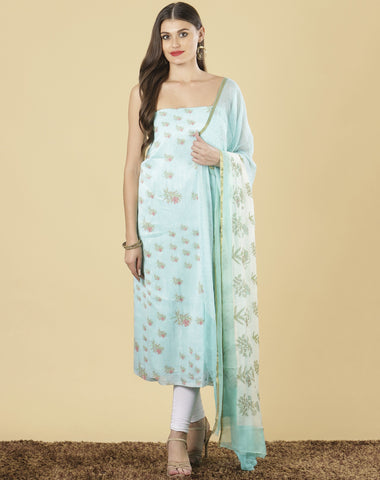 Meena Bazaar: Unstitched Cotton chanderi suit piece.