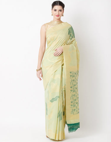 Pista Green Beige Cotton Linen Saree