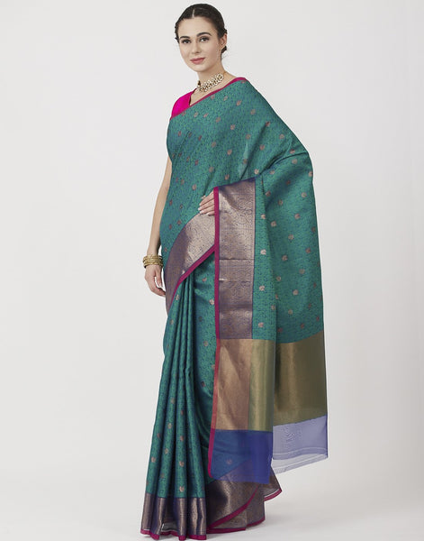 Rama Green Woven Kora Cotton Saree