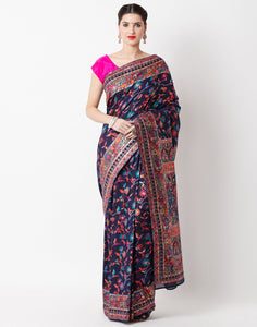 Navy Blue Woven Tusser Saree