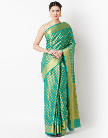 MBZ Meena Bazaar-Green Art Handloom Saree